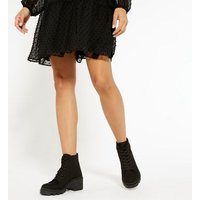 Black Canvas Chunky Trainer Boots New Look