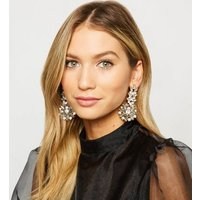 Gold Gem Statement Earrings New Look