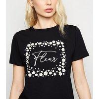Black Daisy Fleur Slogan T-Shirt New Look
