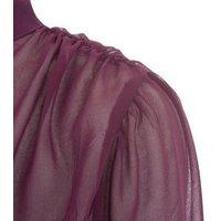 NA-KD Dark Purple Puff Sleeve Chiffon Blouse New Look
