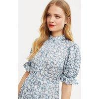 Blue Vanilla Blue Floral Puff Sleeve Shirt Dress New Look