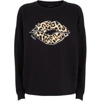 Black Leopard Print Lips Slogan Sweatshirt New Look