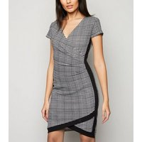 Apricot Black Dogtooth Wrap Dress New Look
