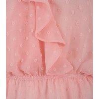 Pale Pink Chiffon Spot Ruffle Wrap Blouse New Look