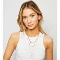 Gold Circle Pendant Layered Necklace New Look