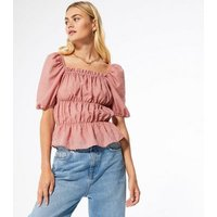 Mid-Pink-Chiffon-Spot-Ruched-Square-Neck-Blouse-New-Look