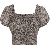 Black Floral Shirred Puff Sleeve Top New Look