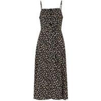 Black Daisy Button Front Midi Slip Dress New Look
