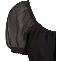 Black Shirred Puff Sleeve Top New Look