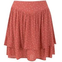 JDY Rust Spot Tiered Mini Skirt New Look