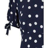 Navy Spot Tie Puff Sleeve Dress New Look