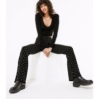 Black Spot Ribbed Flared Trousers New Look