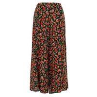 Black Floral Wide Leg Crop Trousers New Look