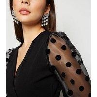 Cameo Rose Black Spot Organza Puff Sleeve Dress New Look