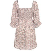 Blue Floral Square Neck Puff Sleeve Mini Dress New Look