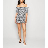 Cameo Rose Black Floral Bardot Playsuit New Look