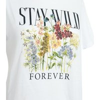 White Floral Stay Wild Slogan T-Shirt New Look
