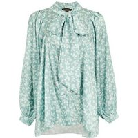 Port Boutique Mint Green Satin Leaf Bow Blouse New Look