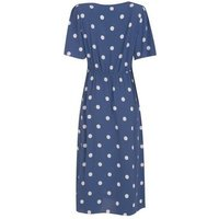 Blue Spot Puff Sleeve Midi Dress New Look