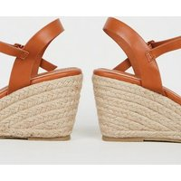 Tan Leather-Look Cross Strap Espadrille Wedges New Look