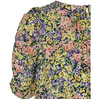 Yellow Floral Shirred Puff Sleeve Blouse New Look