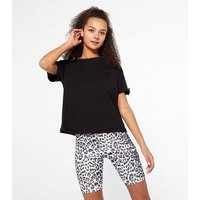 Black Diamante Embellished Tab Boxy T-Shirt New Look