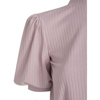 Pale Pink Ribbed High Neck Tie Back Top New Look