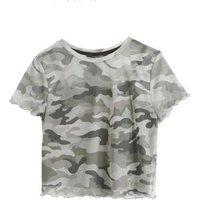 Girls Green Camo Mesh Frill Trim T-Shirt New Look