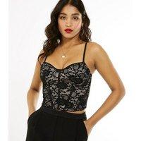 Black Mesh Lace Bustier Crop Top New Look