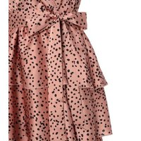 Pink Satin Spot Puff Sleeve Tiered Dress New Look