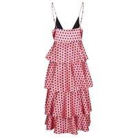 Pink Satin Spot Tiered Midi Dress New Look