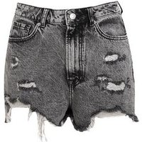 Dark Grey Acid Wash Ripped Mom Shorts New Look