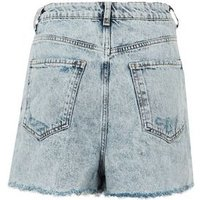 Blue Acid Wash Ripped Mom Shorts New Look