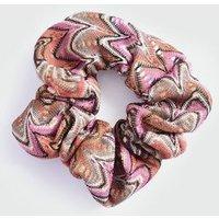 Multicoloured Geometric Crochet Glitter Scrunchie New Look