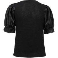Black Fine Knit Satin Puff Sleeve Top New Look