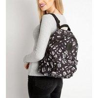 Artsac Black Geometric Print Logo Backpack New Look