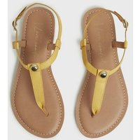 Wide Fit Mustard Leather Studded Flat Sandals New Look
