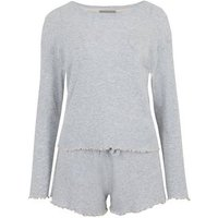 Grey Ribbed Long Sleeve Short Pyjama Set New Look