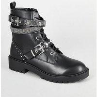 Black Diamante Strap Chunky Biker Boots New Look Vegan