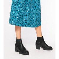 Black Leather-Look Chunky Platform Chelsea Boots New Look Vegan