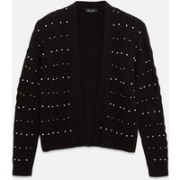 Black Cable Knit Beaded Cardigan New Look