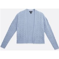 Pale Blue Cable Knit Beaded Cardigan New Look