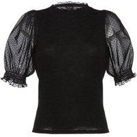 Black Chiffon Spot Puff Sleeve Knit Top New Look