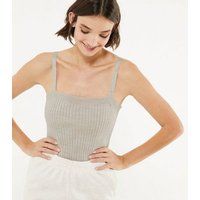 Cream Ribbed Knit Vest New Look
