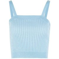 Pale Blue Ribbed Knit Vest New Look