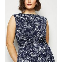 Apricot Curves Navy Leaf Print Tie Front Dress New Look