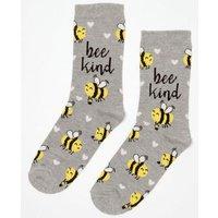 Grey Bee Kind Slogan Socks New Look