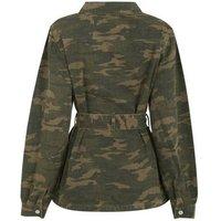 Tall Khaki Camo Belted Lightweight Jacket New Look