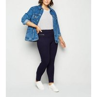 Apricot Curves Navy Button Front Slim Trousers New Look