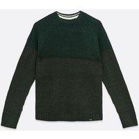 Men's Only & Sons Dark Green Colour Block jumper New Look